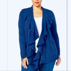 Karen Scott Macy's Plus LuxSoft Ruffle Cardigan